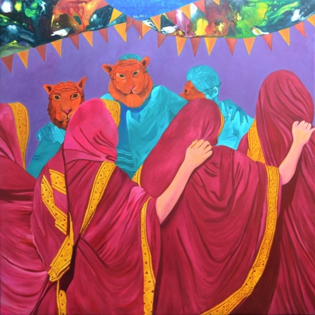 Fantasy Acrylic Art Painting title 'Masked' by artist Gayatri Artist