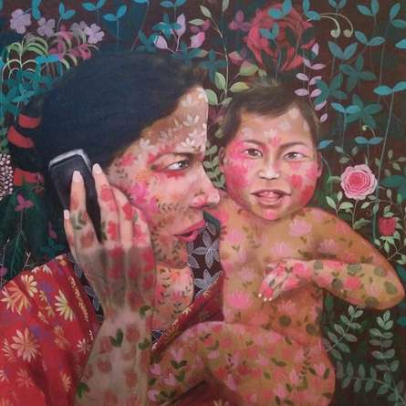 Figurative Acrylic Art Painting title 'Untitled 3' by artist Anjum Khan