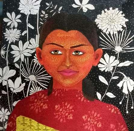 Figurative Acrylic Art Painting title 'Untitled 4' by artist Anjum Khan