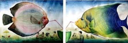 Animals Watercolor Art Painting title 'Delightful Moment' by artist Bikash Mohanta