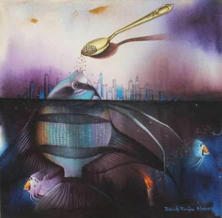 Animals Acrylic Art Painting title 'Dependent Life' by artist Bikash Mohanta