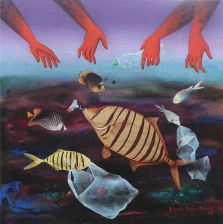 Animals Acrylic Art Painting title 'Protect Us' by artist Bikash Mohanta