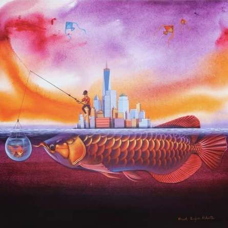 Animals Acrylic Art Painting title 'The Thinking Of Urban Pepole' by artist Bikash Mohanta