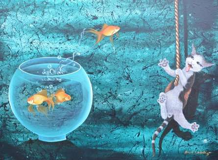 Animals Acrylic Art Painting title Untitled 15 by artist Bikash Mohanta