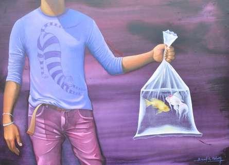 Figurative Acrylic Art Painting title Untitled 16 by artist Bikash Mohanta