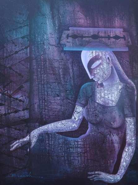 Figurative Acrylic Art Painting title Untitled 18 by artist Bikash Mohanta