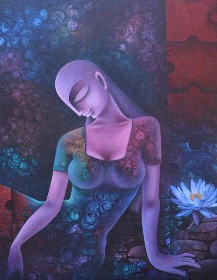 Figurative Acrylic Art Painting title Untitled 19 by artist Bikash Mohanta