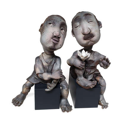 Ceramic Sculpture titled 'Shaanti Doot' by artist Deveshh Upadhyay