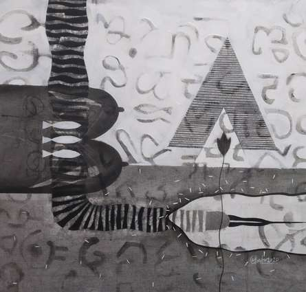 Abstract Charcoal Art Drawing title 'Untitled 12' by artist Narendra Jatav