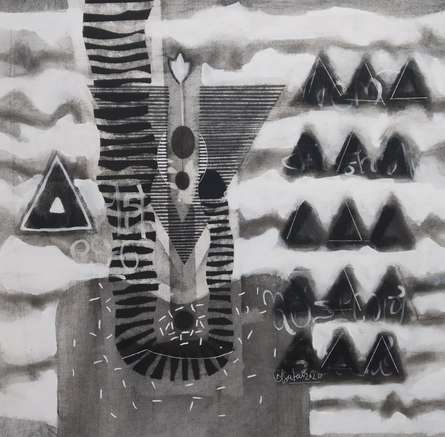 Abstract Charcoal Art Drawing title 'Untitled 13' by artist Narendra Jatav