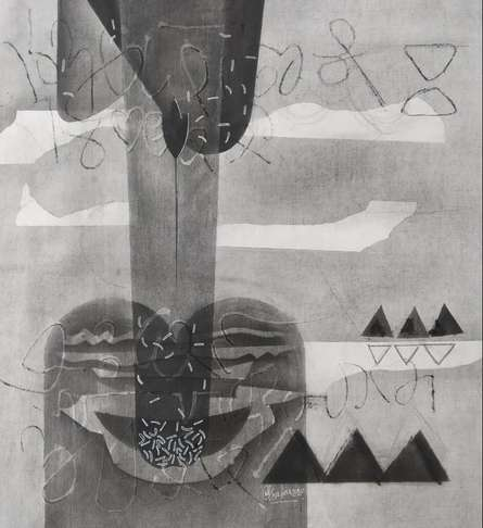 Abstract Mixed-media Art Drawing title 'Untitled 16' by artist Narendra Jatav