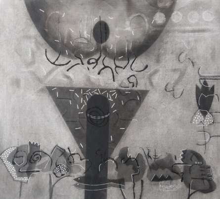 Abstract Mixed-media Art Drawing title Untitled 4 by artist Narendra Jatav