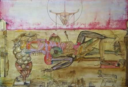 contemporary Mixed-media Art Painting title 'Couple War' by artist Hrusikesh Biswal
