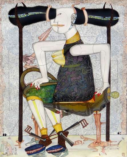 contemporary Mixed-media Art Painting title 'Guddi Darling' by artist Hrusikesh Biswal
