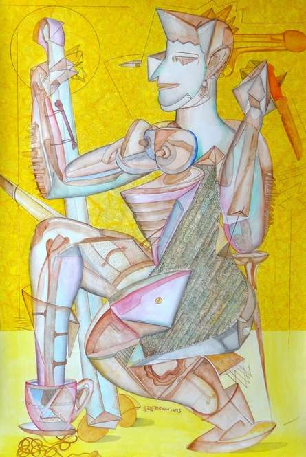 contemporary Mixed-media Art Painting title 'Untitled 4' by artist Hrusikesh Biswal