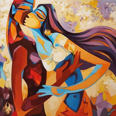 Figurative Acrylic Art Painting title 'A Love Story' by artist Laxmi Mysore