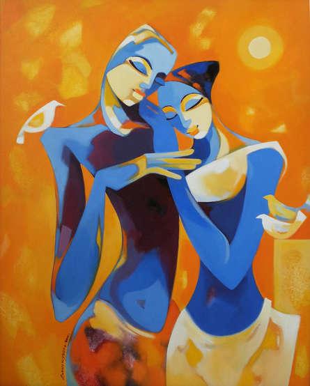 Figurative Acrylic Art Painting title 'Enamored' by artist Laxmi Mysore