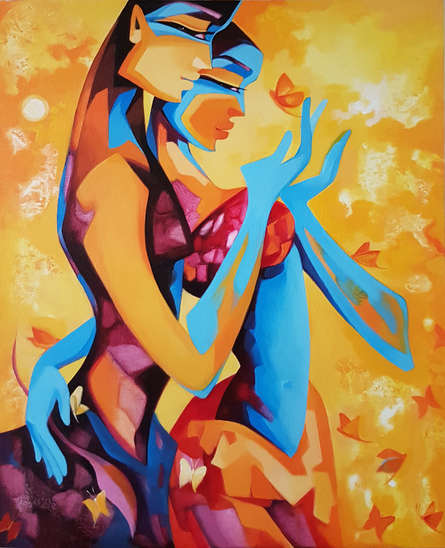 Figurative Acrylic Art Painting title 'Enamored 2' by artist Laxmi Mysore