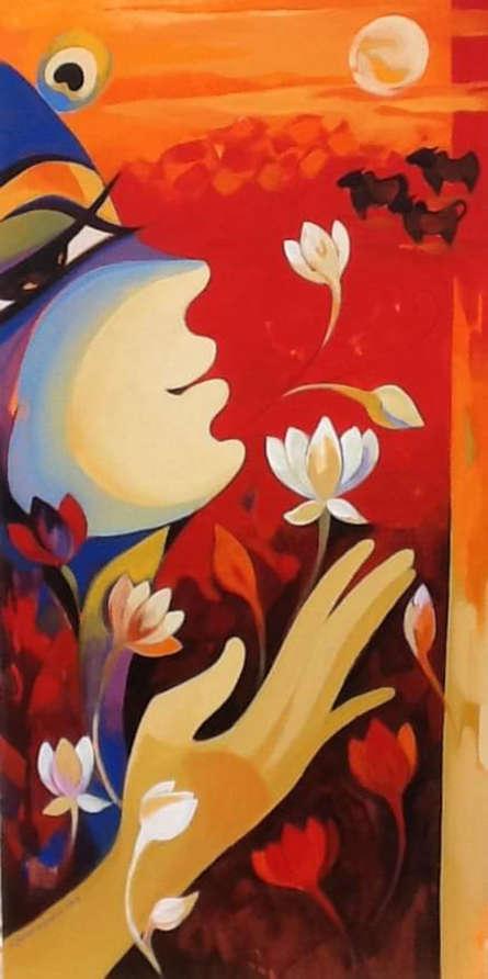 Religious Acrylic Art Painting title Krishna Calling by artist Laxmi Mysore