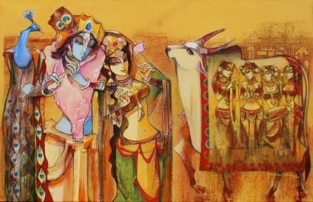 Religious Acrylic Art Painting title 'Radha Krishna' by artist Prabhakar Ahobilam