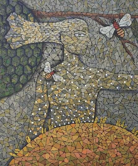 Figurative Acrylic Art Painting title 'Honey Bee' by artist Pravin Randive