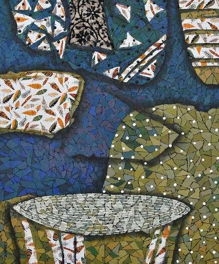 Abstract Mixed-media Art Painting title 'Neerakar' by artist Pravin Randive
