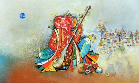 Religious Acrylic Art Painting title Ganesha Playing Sitar by artist M Singh