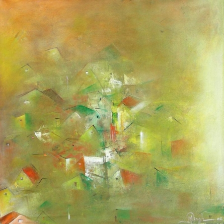 M Singh | Acrylic Painting title Yellow City Abstract on Canvas | Artist M Singh Gallery | ArtZolo.com
