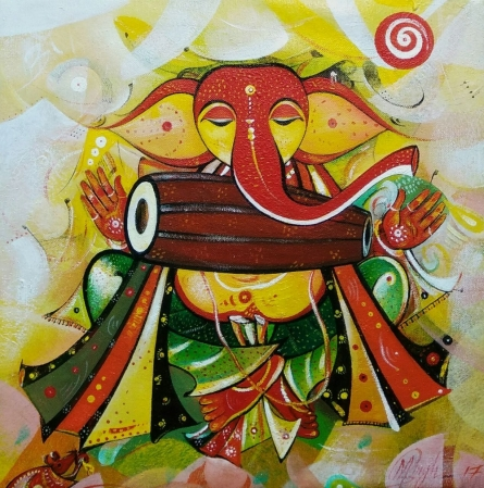 M Singh | Acrylic Painting title Ganesha Playing Music on Canvas | Artist M Singh Gallery | ArtZolo.com