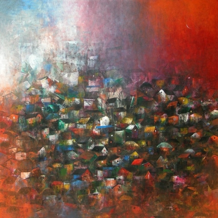 Abstract Acrylic Art Painting title 'Village Of My Dreams' by artist M Singh