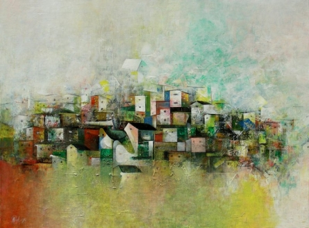 M Singh | Acrylic Painting title Abstract City on Canvas | Artist M Singh Gallery | ArtZolo.com