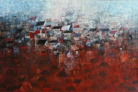 View Of Shanties Up A Hill | Painting by artist M Singh | acrylic | Canvas