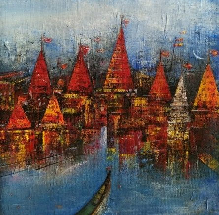 Cityscape Acrylic Art Painting title Banaras Ghat 1 by artist M Singh