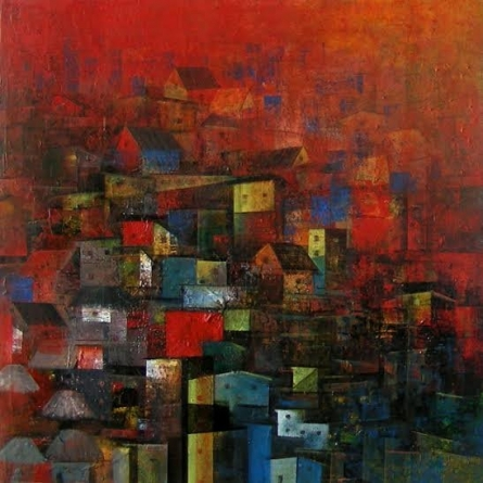 M Singh | Acrylic Painting title City Homes on Canvas | Artist M Singh Gallery | ArtZolo.com