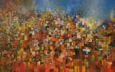 Cityscape Acrylic Art Painting title 'City Of Dream 5' by artist M Singh