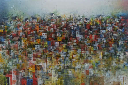 Cityscape Acrylic Art Painting title 'City Of Dream 7' by artist M Singh