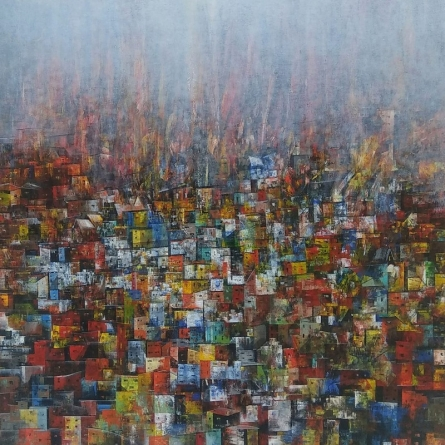 Cityscape Acrylic Art Painting title 'Cityscape 2' by artist M Singh