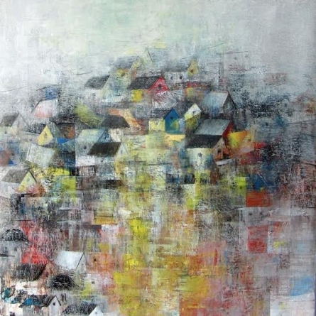 Abstract Acrylic Art Painting title Crowded Block by artist M Singh