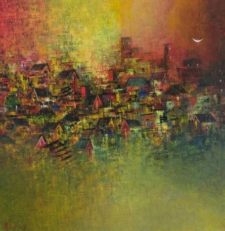 M Singh | Acrylic Painting title Distance View Of My Village on Canvas | Artist M Singh Gallery | ArtZolo.com