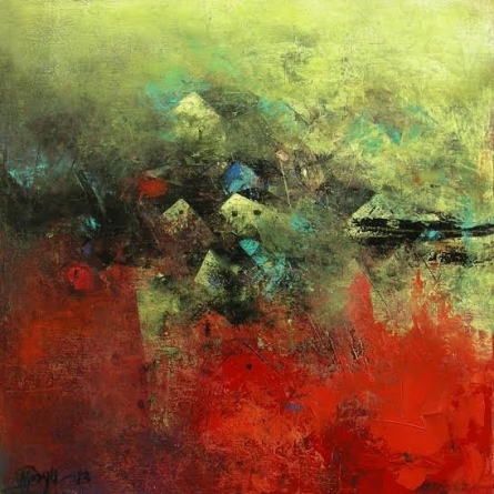 Abstract Acrylic Art Painting title 'Distant Village View Ii' by artist M Singh