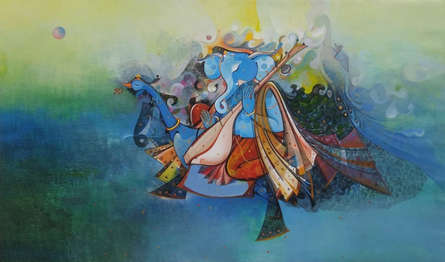 Religious Acrylic Art Painting title 'Ganesha' by artist M Singh