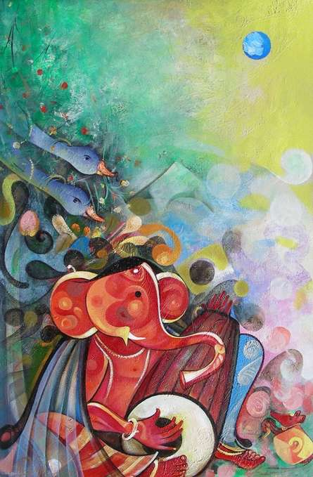 Religious Acrylic Art Painting title 'Ganesha Playing Instrument V' by artist M Singh