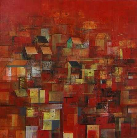 Abstract Acrylic Art Painting title 'The Houses' by artist M Singh