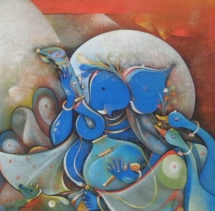 Religious Acrylic Art Painting title 'Vighnaraja' by artist M Singh