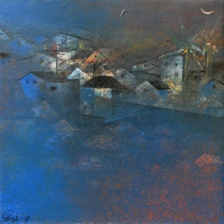 Abstract Acrylic Art Painting title 'Village In The Night' by artist M Singh