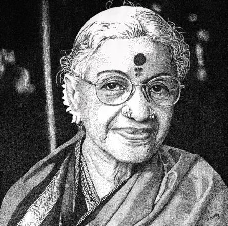 Figurative Ink Art Drawing title Ms. Shubhlaxmi by artist Surya Murthy
