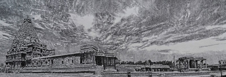Religious Mixed-media Art Drawing title Temple by artist Surya Murthy