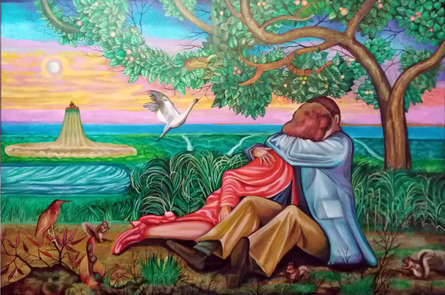 Figurative Oil Art Painting title The Kiss by artist Sukesan Kanka
