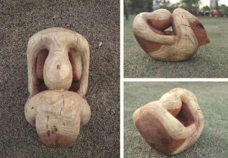 Neem Wood Sculpture titled 'Into Myself' by artist Tanzeem Baredia