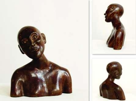 Brass Sculpture titled 'Thinker 2' by artist Tanzeem Baredia